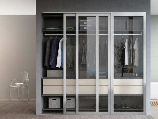 California Closets - Reach-In Custom Closet with Sliding Doors