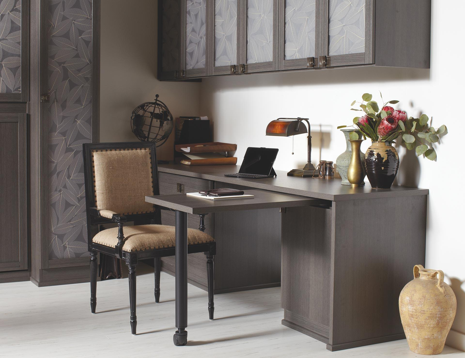California Closets   Home Office Custom Storage SolutionsSimon Convertible  Office With Lago Milano Grey Finish