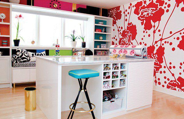 A Colorful & Stylish Craft Room with a Vintage Twist