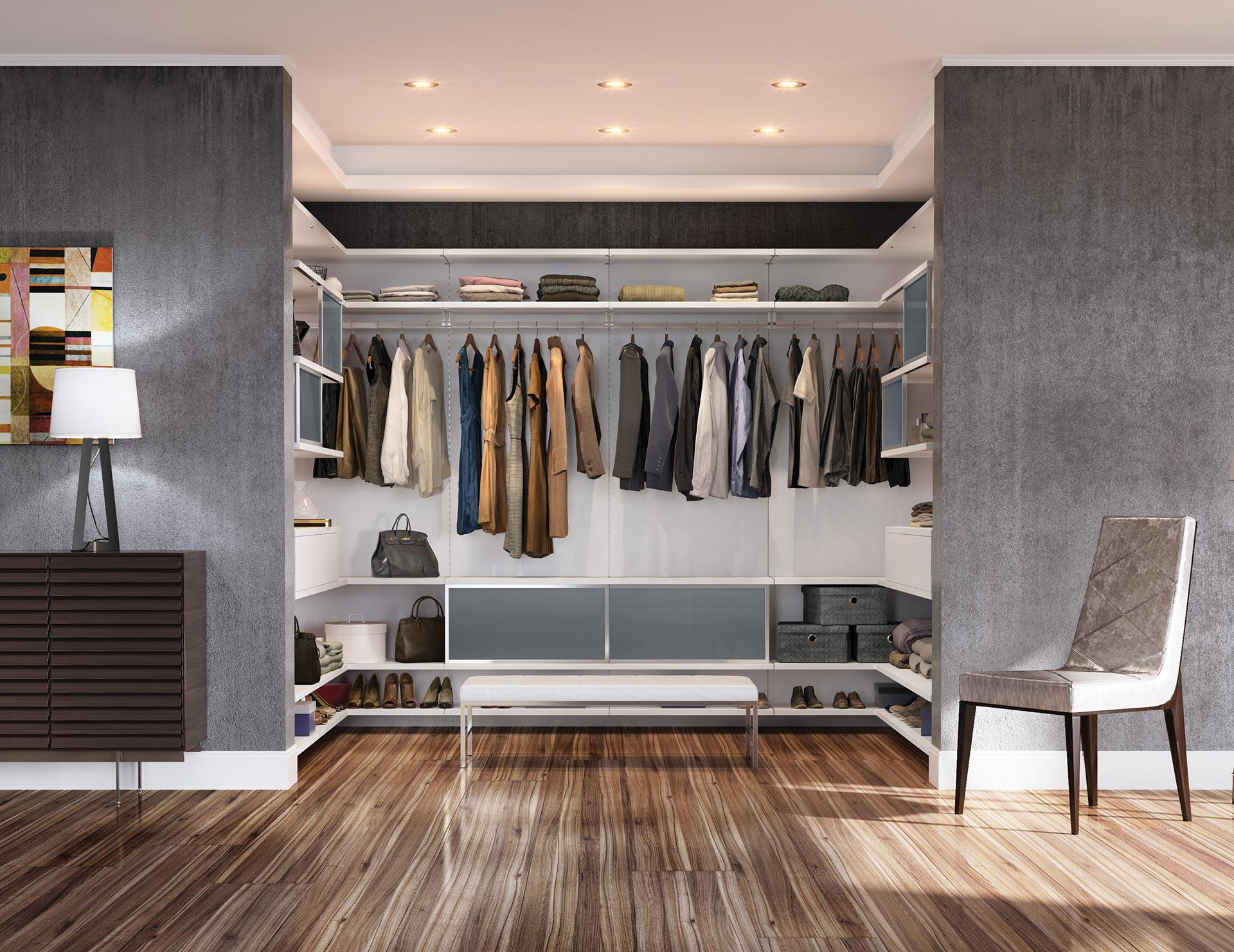 Walk in closets designs ideas by california closets for Back painted glass designs for wardrobe
