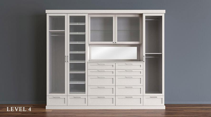 Design to your Budget, Level 4. Elegant shelving until with decorative draws and door-encased shelves.